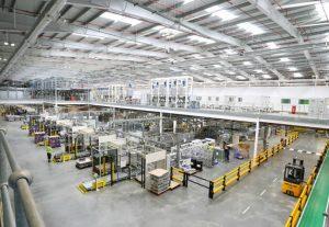 The filling hall at AkzoNobel's new £100 million facility in Ashington.