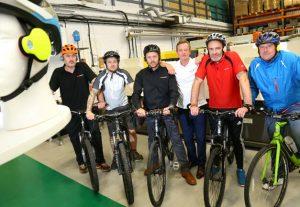 The Omega Plastics cycling team with David Crampton, director at Hanaido.