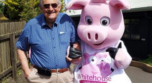 Keith Slater, founder of Whitehouse Farm Centre with Nelson the farm's new mascot.