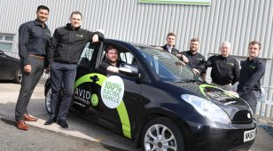 1.) AVID's new recruits (left to right) Neil Mistry, Applications Engineer, Lee Johnson, Project Engineer, (in car) Kevin Raffle, Production Operative, Adam Bokenfohr, Project Engineer, Dainius Nartsutis, Embedded Software Engineer, David Smurthwaite, Senior Project Manager and Greg Jones, Customer Programme Manager.