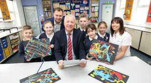Ian Lavery MP with Jeff Hope and Jill Johnston from AkzoNobel Ashington and pupils from Central Primary School.