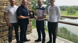 (L to R) Aidan Sunter (Epic Social) with Rob Armstrong, Alan Shearer and Ben Maughan (Epic Social) with the Hublot watch at Close House.