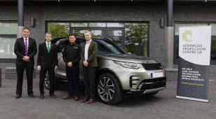 (Left to right) Josh Denne, Project Delivery Lead at the Advanced Propulsion Centre, Andrew Bush, Advanced Propulsion Collaboration Manager at Jaguar Land Rover, Ryan Maughan, Managing Director at AVID Technology and Jeremy Clayton, Project Manager for Powertrain Research at Jaguar Land Rover.