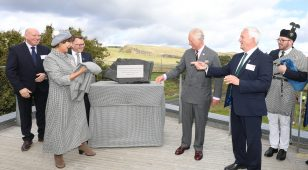 (Centre) HRH the Prince of Wales officially opens The Sill accompanied by the Duchess of Northumberland with (L to R) Ivor Crowther, Heritage Lottery Fund North East and Tony Gates and Glen Sanderson, Northumberland National Park Authority.