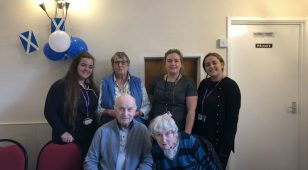 Margaret Johnson from Berwick and District Friends of Dementia Group (back centre left), Leanne Grethe from Northumberland College (back centre right) with beauty students and service users from Alz Café.