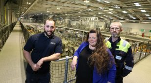 Stephen Cook, apprentice process operator at AkzoNobel Ashington with Sara Sawyer, business development manager at Northumberland College and Bill Burgess, contract electrical engineer and on-site mentor at AkzoNobel.