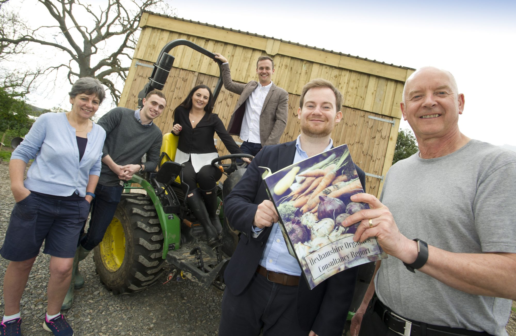 Business Clinic students with Northumberland-based client Hexhamshire Organics.