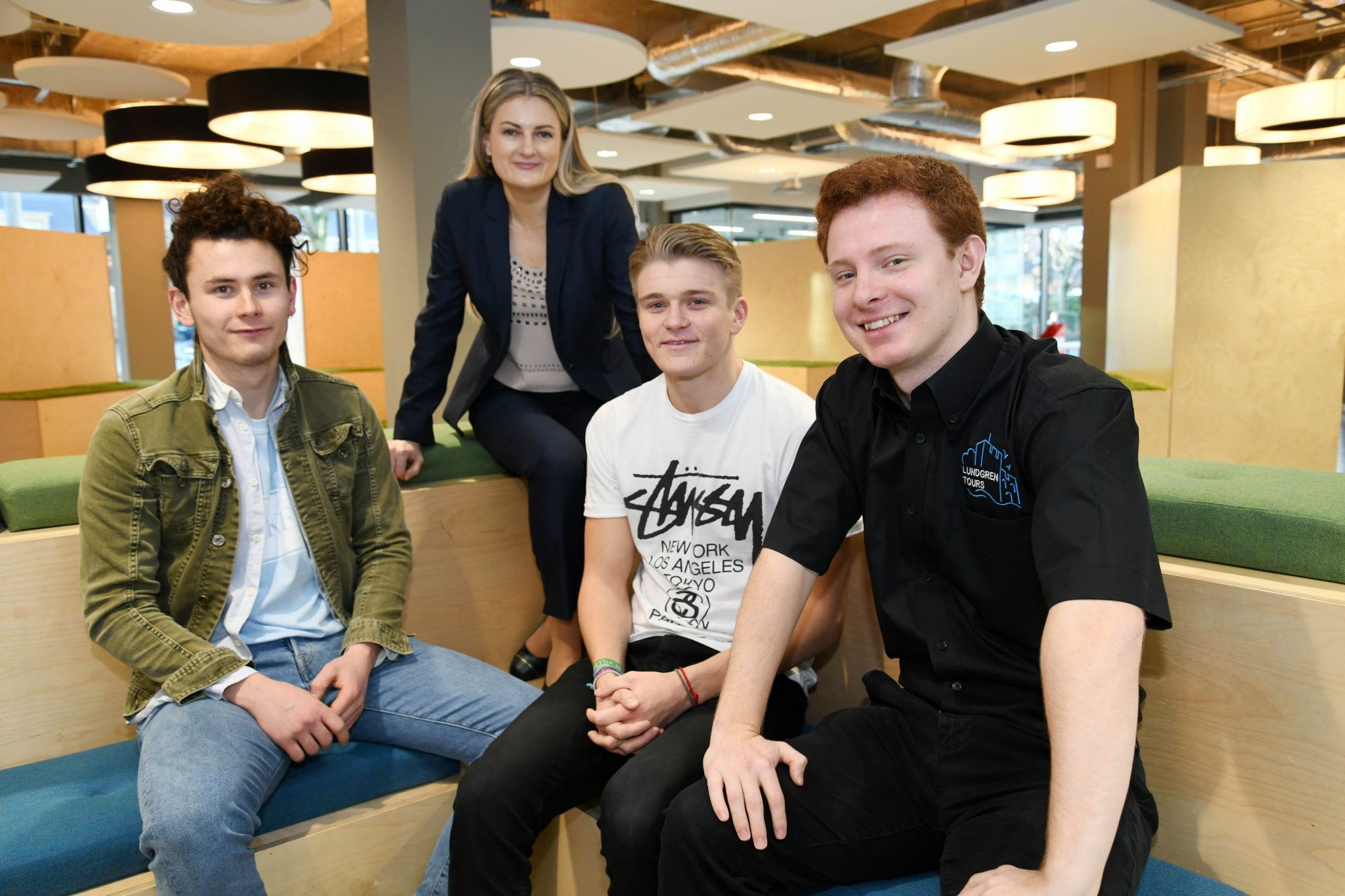 1.) (L to R) Joey Swindells, The Rookery, Natalia Blagburn, EBM Business Coach at Northumbria University, Cole Robinson, Videographer and Rob Lundgren-Jones, founder of Lundgren Tours.