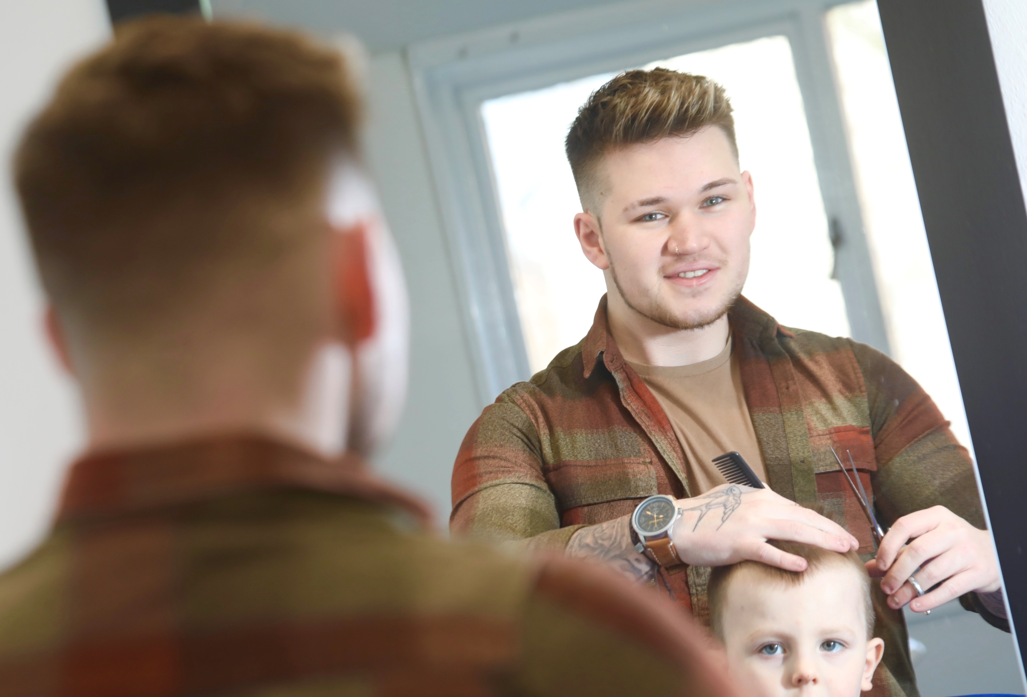 Northumberland College barbering student and apprentice, Reece Whitworth.