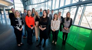Key speakers at the ITT Future You Roadshow at Sage Gateshead with event organiser Kate Harland, graduate tutor at Newcastle Business School (front/centre).