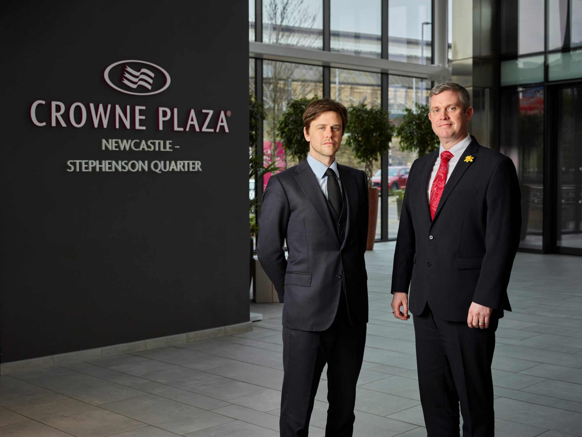 CEO of Clouston Group (owners of Crowne Plaza Newcastle), Richard Clouston, with Devin Grosse, Interstate's Regional Vice President of Operations.