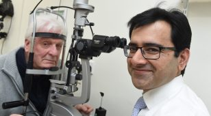 Mr Colin Stewart - cataract patient and Mr Qasim Mansoor - Consultant Ophthalmic Surgeon at Nuffield Health Tees Hospital