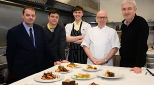 1.) Great North Menu winners and judges (L to R) Michael Knox, sous chef and judge, winners Chris Donaldson, Hilton Newcastle Gateshead and Michael Parkinson, Ramside Hall with judges Terry Laybourne and Roger Crosby
