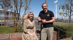 Leanne Tonks from Fusion PR Creative with Paul Mordue.