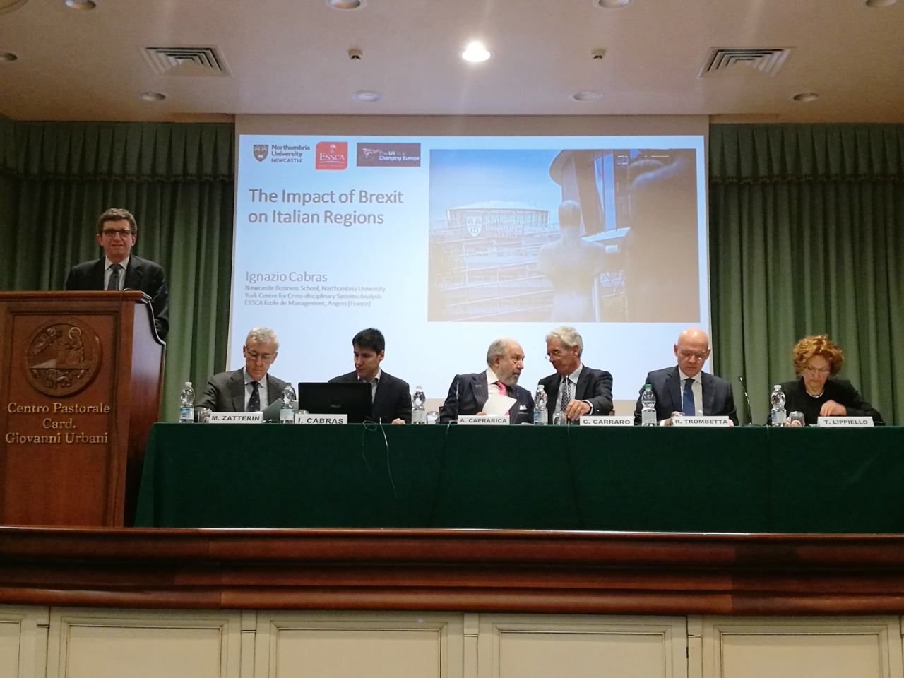 Speaking in Venice (third from left) Professor Ignazio Cabras, Faculty Director for International Research Partnerships at Newcastle Business School, Northumbria University.