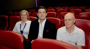 MediCinema Manager Joss Spires; Rob Earnshaw, National Youth Film Academy; and Deputy MediCinema Manager Joe Christie