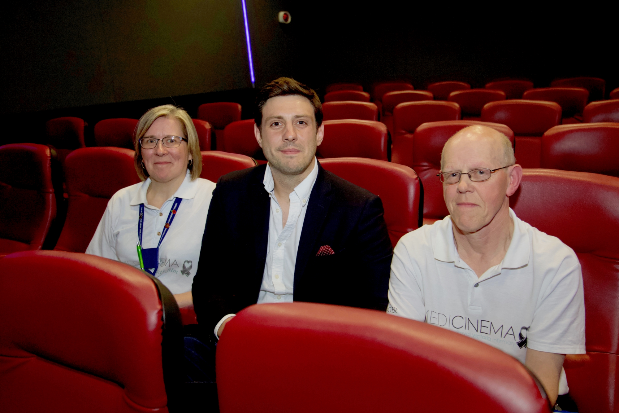 MediCinema Manager Joss Spires; Rob Earnshaw, National Youth Film Academy; and Deputy MediCinema Manager Joe Christie