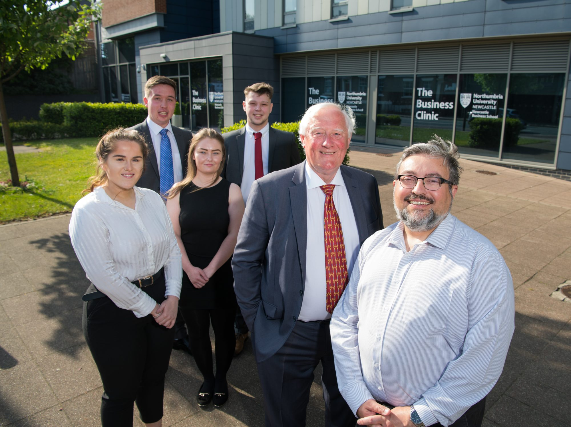 Ignition Consulting with their client NIBE (L to R) business students Kara McMahon, Henry Dodds, Elizabeth Park and Fraser Robinson with Kevan Carrick, NIBE Chair and Ron Beadle, Professor of Organisation and Business Ethics at Northumbria University.