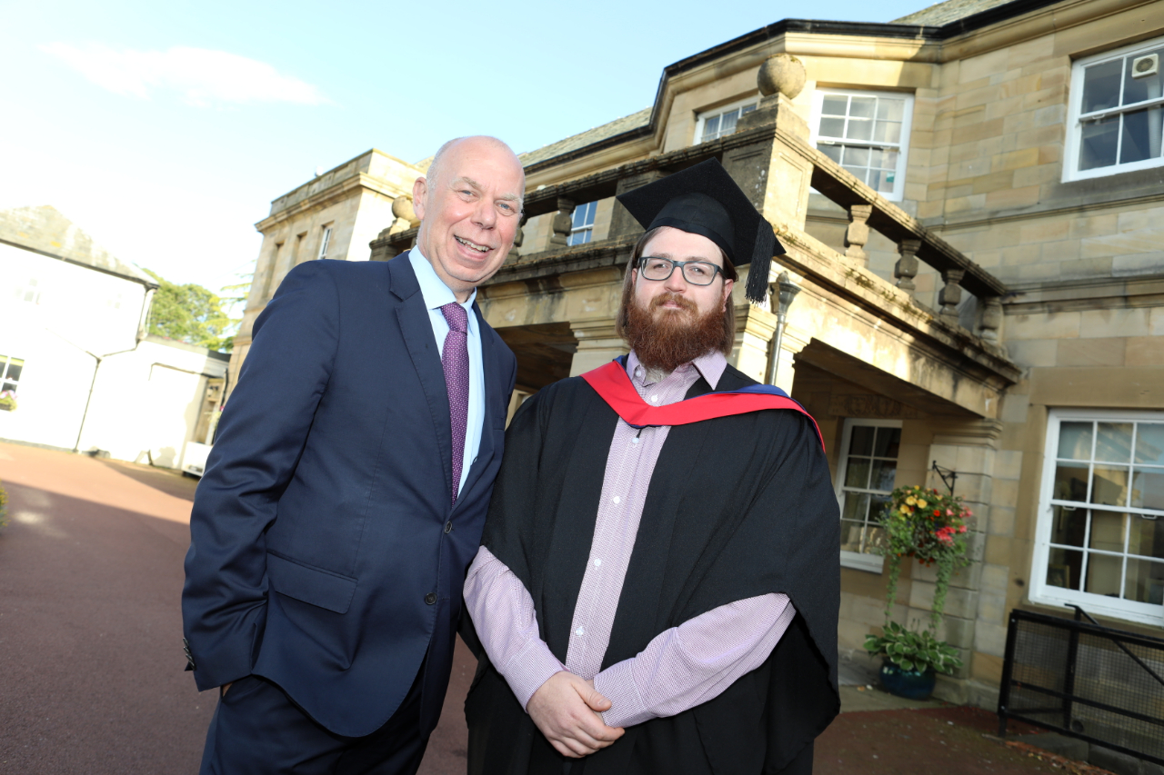 Andrew Hodgson, Chair of NELEP and Chairman of AVID Technology Group with HNC Manufacturing Engineering graduate, Kris Archer.