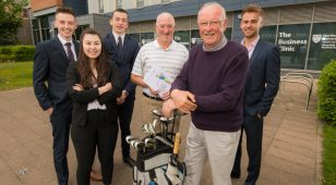 (L to R) Northumbria University business student's James Smith, Abby Wiffen and James Sopp with Peter Jobe and John Hall from the GCMA Northern Region and fellow student Fraser Mair.