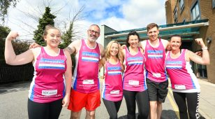 Members of the Nuffield GNR team, (L-R) Georgina Little, Derek Thompson, Joanne Sterry, Gemma McGlen, Bryn Scott & Leonie Morton proudly wear their St Oswald's vests.