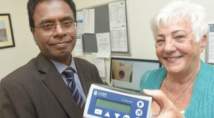 2.) Professor Viswanath and Stretta Therapy patient Maggie Frost with the Restech pH diagnosis device for acid reflux disease.