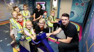 (R to L from front) Mike James, Site Manager at North Sea Link with Sallyanne Barson, Communications and Stakeholder Engagement Manager, Steve Coxon, Senior Project Manager and pupils from Cambois Primary School.
