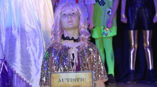 Photograph taken of Cleaswell Hill School pupil during a performance of The Greatest Show.