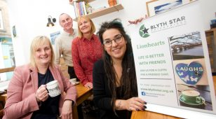 (L to R) Ann Marie Lister, Andy Muckle and Heather Parker from Blyth Star Enterprises' Lionhearts programme with Millie Stanford, co-founder of the Northern Soul Kitchen.